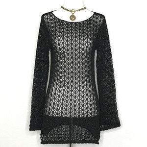 Cache Black Open Crochet Lace Tunic Top A080215